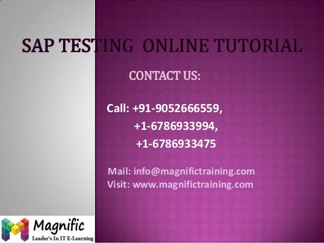 CONTACT US: Call: +91-9052666559, +1-6786933994, +1-6786933475 Mail: info@magnifictraining.com Visit: www.magnifictraining...