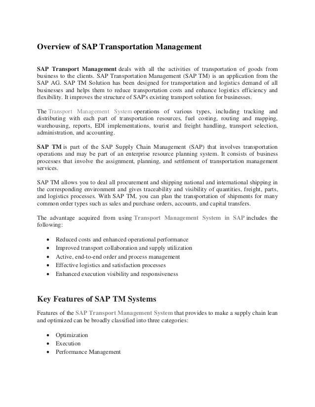 SAP TM Training Material PDF