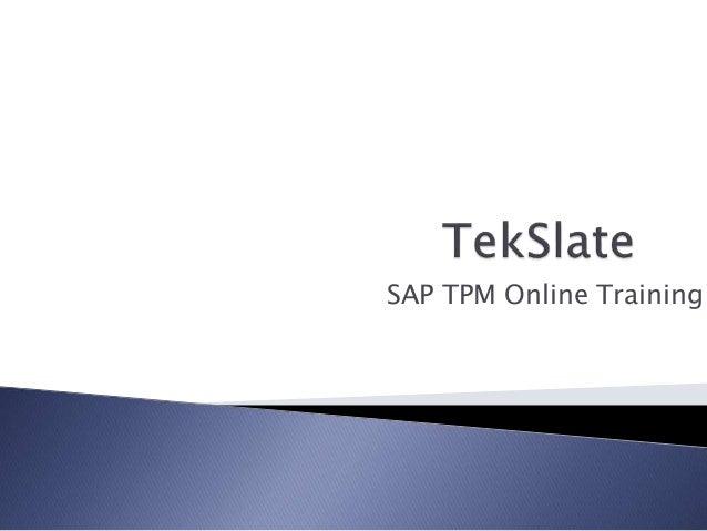 SAP TPM Online Training