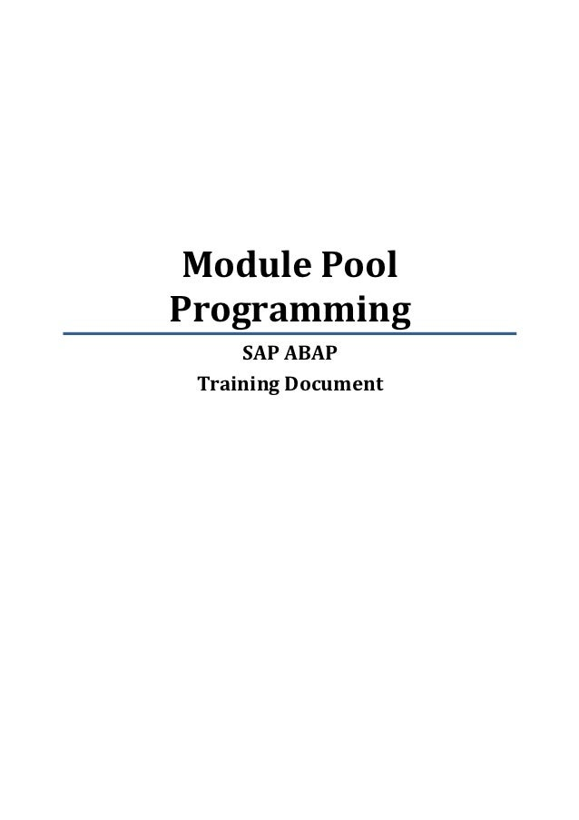 Module PoolProgramming     SAP ABAP Training Document