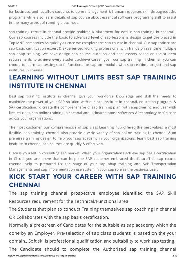 Sap Training In Chennai Sap Course In Chennai
