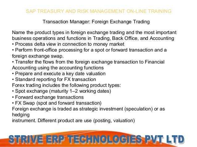 Forex treasury and risk management