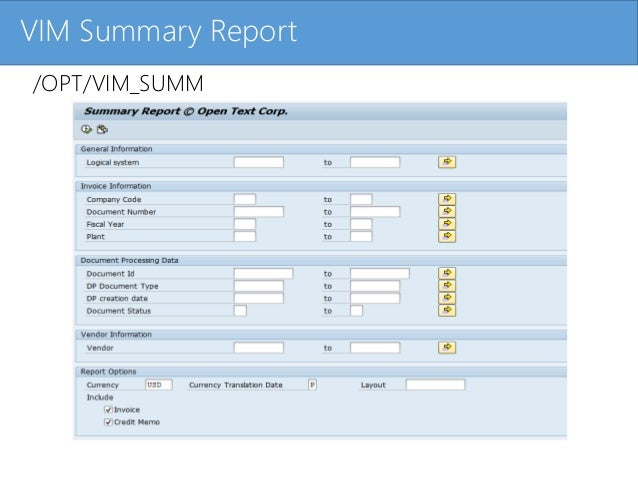 Click to edit Master title styleVIM Summary Report /OPT/VIM_SUMM