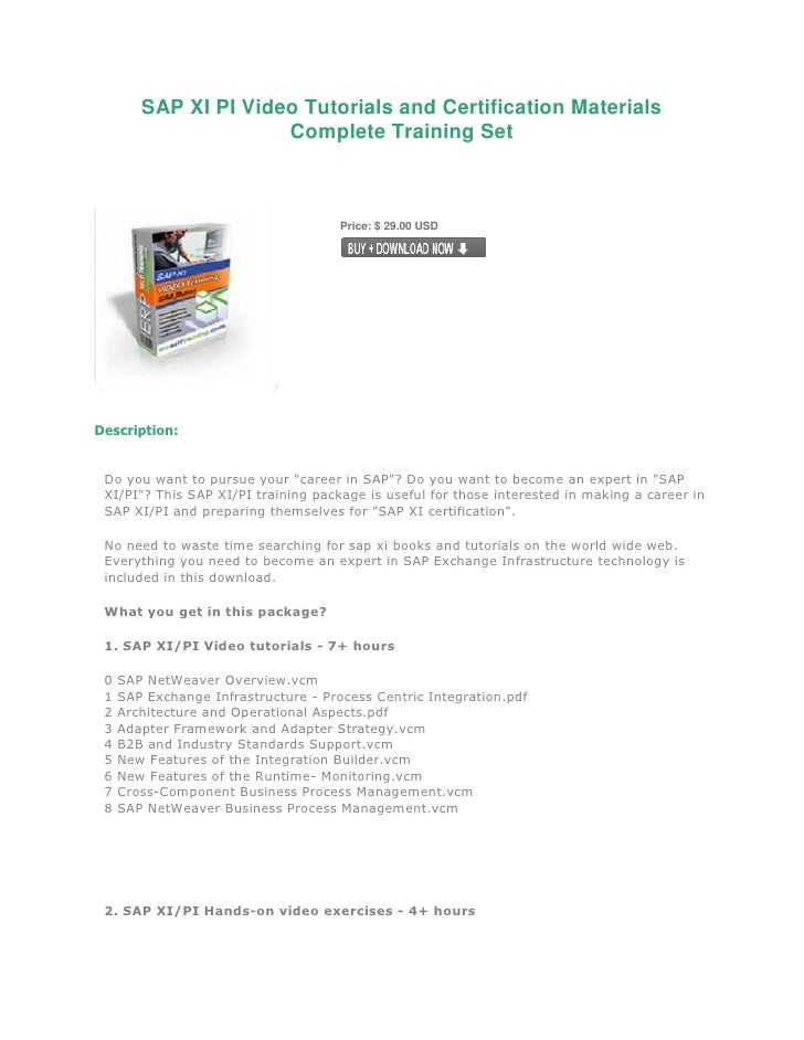 SAP XI PI Video Tutorials and Certification Materials                       Complete Training Set                         ...