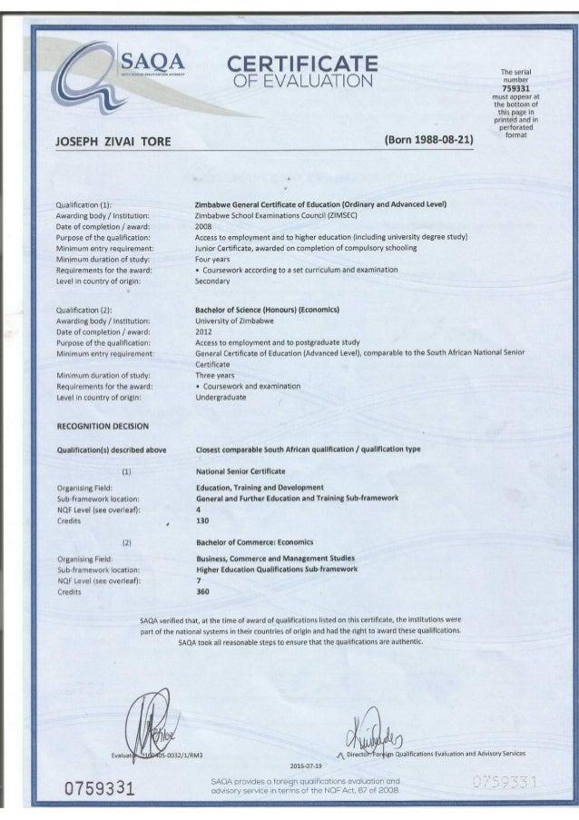 Saqa Certificate Of Evaluationpressed