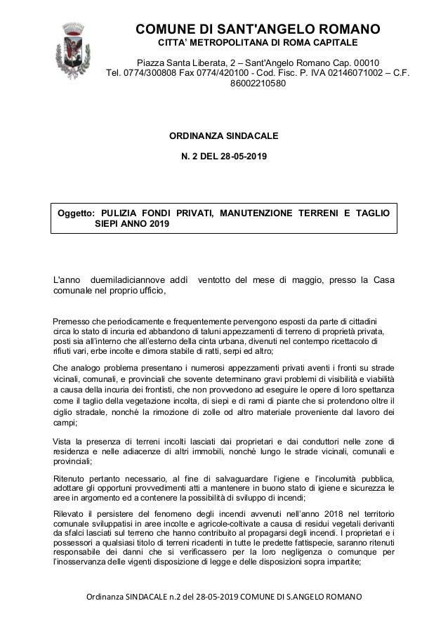 COMUNEDISANT'ANGELOROMANO CITTA'METROPOLITANADIROMACAPITALE PiazzaSantaLiberata,2–Sant'AngeloRomanoCap.00010 Tel.0774/3008...