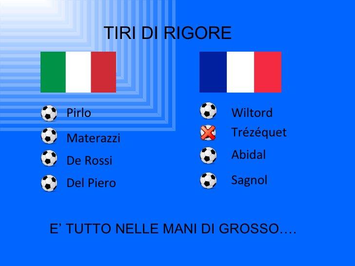 TIRI DI RIGORE Pirlo Wiltord Materazzi Trézéquet De Rossi Abidal Del Piero Sagnol E' TUTTO NELLE MANI DI GROSSO….