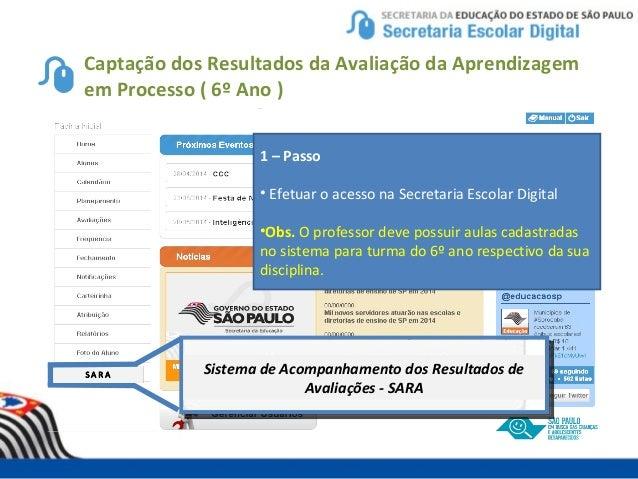 Captação dos Resultados da Avaliação da Aprendizagem em Processo ( 6º Ano ) Sistema de Acompanhamento dos Resultados de Av...