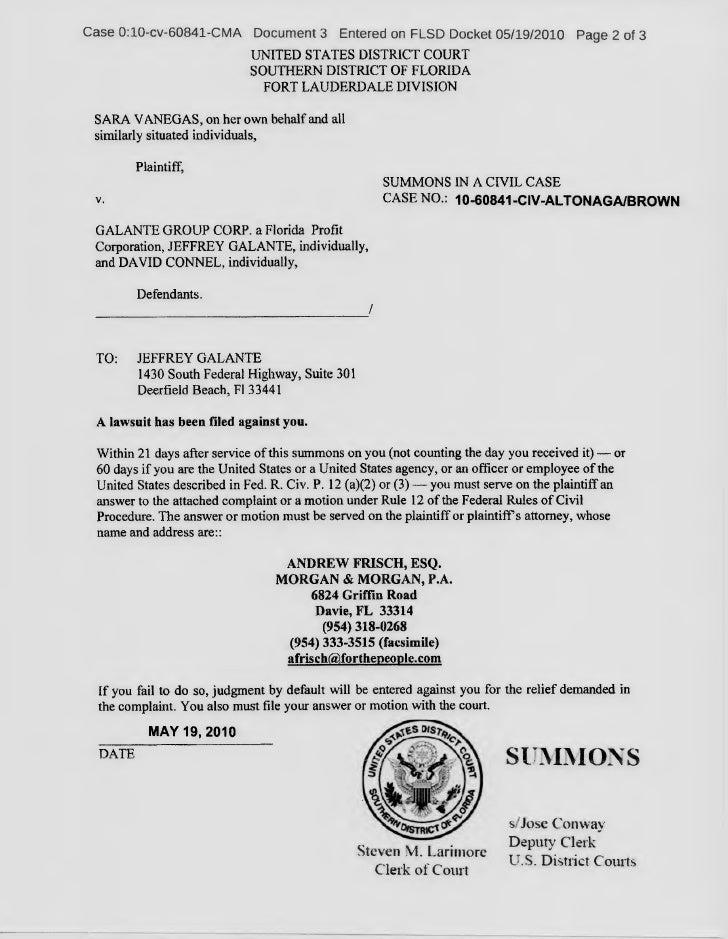 Sara Vanegas versus Galante Group Corporation & Jeffery Galante & Dav…