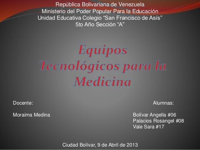 """República Bolivariana de Venezuela Ministerio del Poder Popular Para la Educación Unidad Educativa Colegio """"San Francisco ..."""