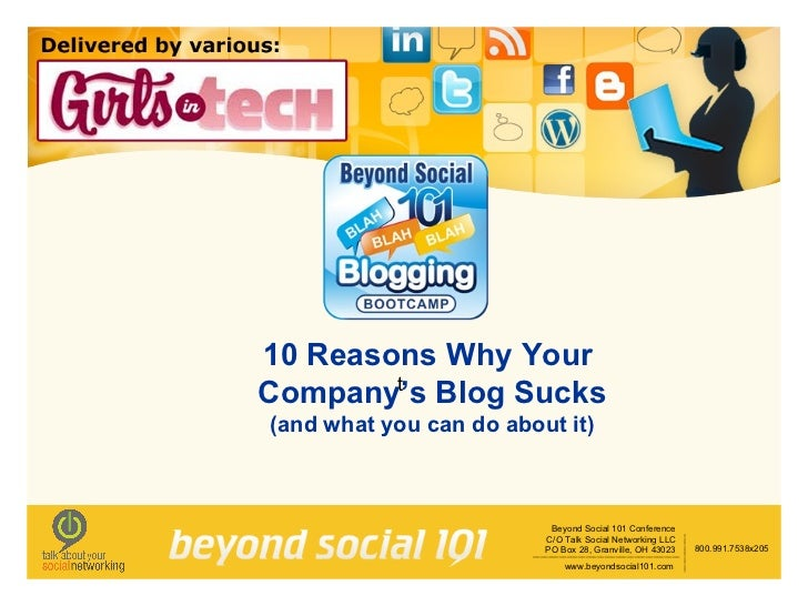 10 Reasons Why Your  Company's Blog Sucks (and what you can do about it) t