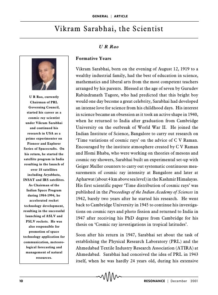 GENERAL ç ARTICLE                             Vikram Sarabhai, the Scientist                                              ...