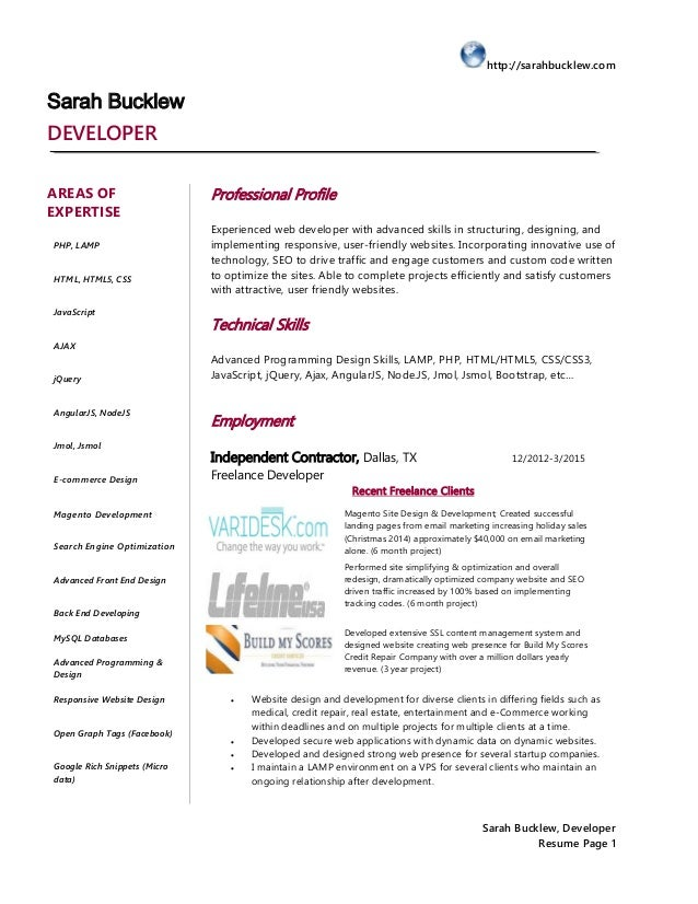 httpsarahbucklewcom sarah bucklew developer resume page 1 sarah bucklew
