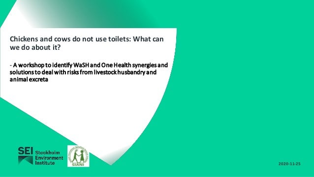 Chickens and cows do not use toilets: What can we do about it? - A workshoptoidentify WaSHandOneHealthsynergiesand solutio...