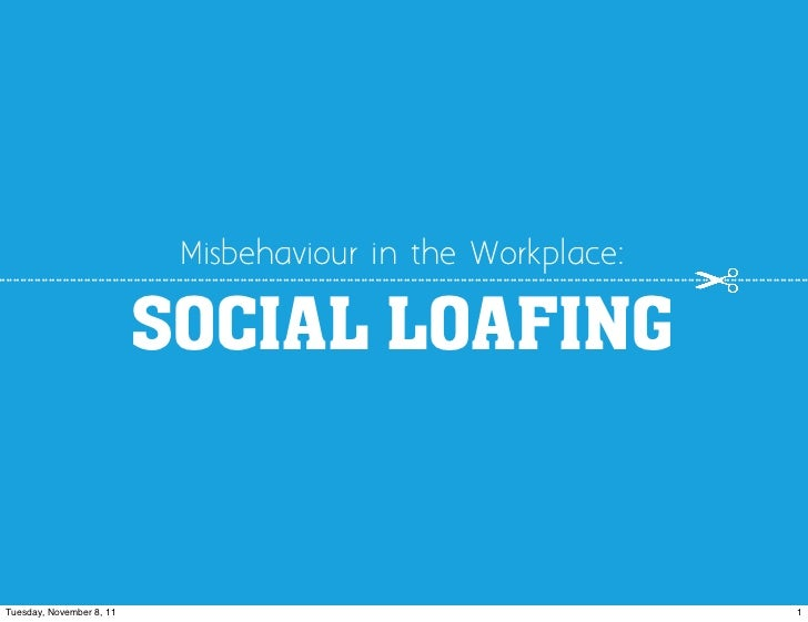 Misbehaviour in the Workplace:                          SOCIAL LOAFINGTuesday, November 8, 11                             ...