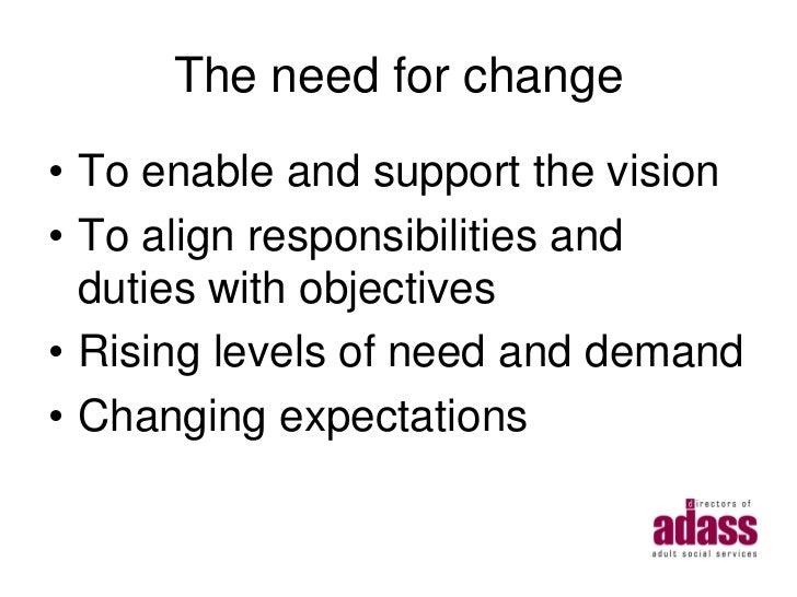 The need for change• To enable and support the vision• To align responsibilities and  duties with objectives• Rising level...