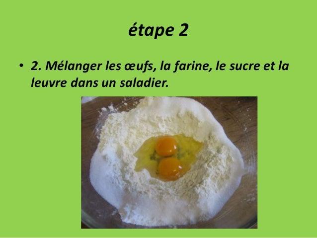étape 2 • 2. Mélanger les œufs, la farine, le sucre et la leuvre dans un saladier.