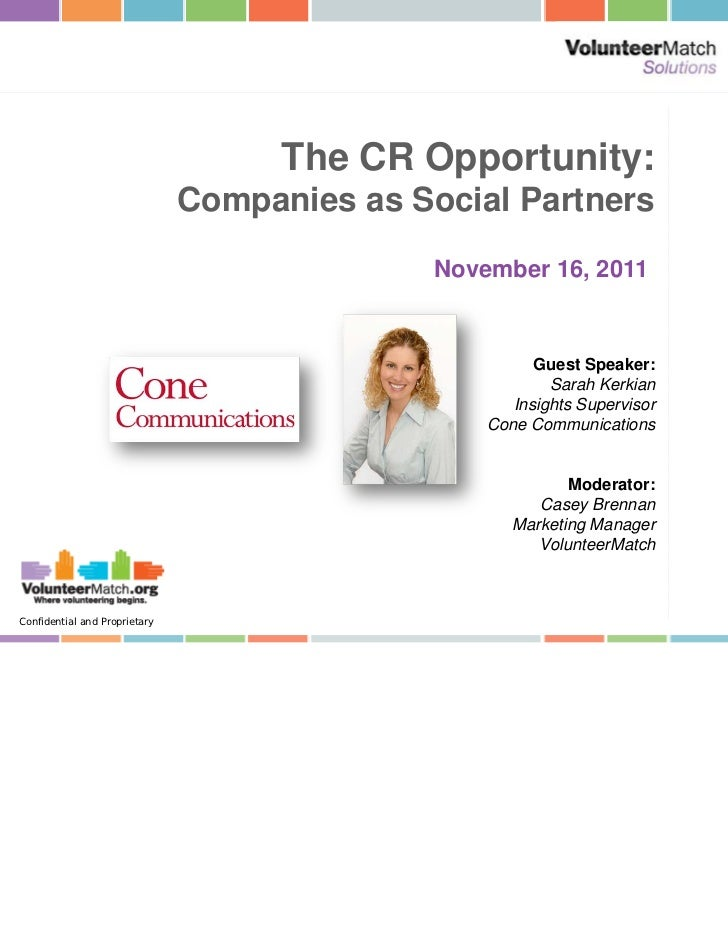 The CR Opportunity:                               Companies as Social Partners                                            ...