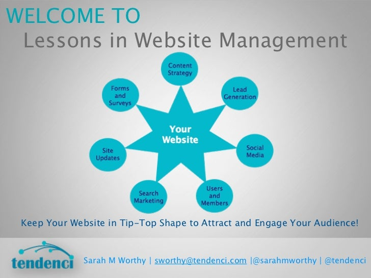 WELCOME TO Lessons in Website Management Keep Your Website in Tip-Top Shape to Attract and Engage Your Audience!          ...