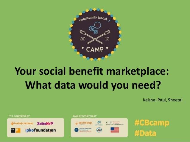 Your social benefit marketplace: What data would you need? Keisha, Paul, Sheetal