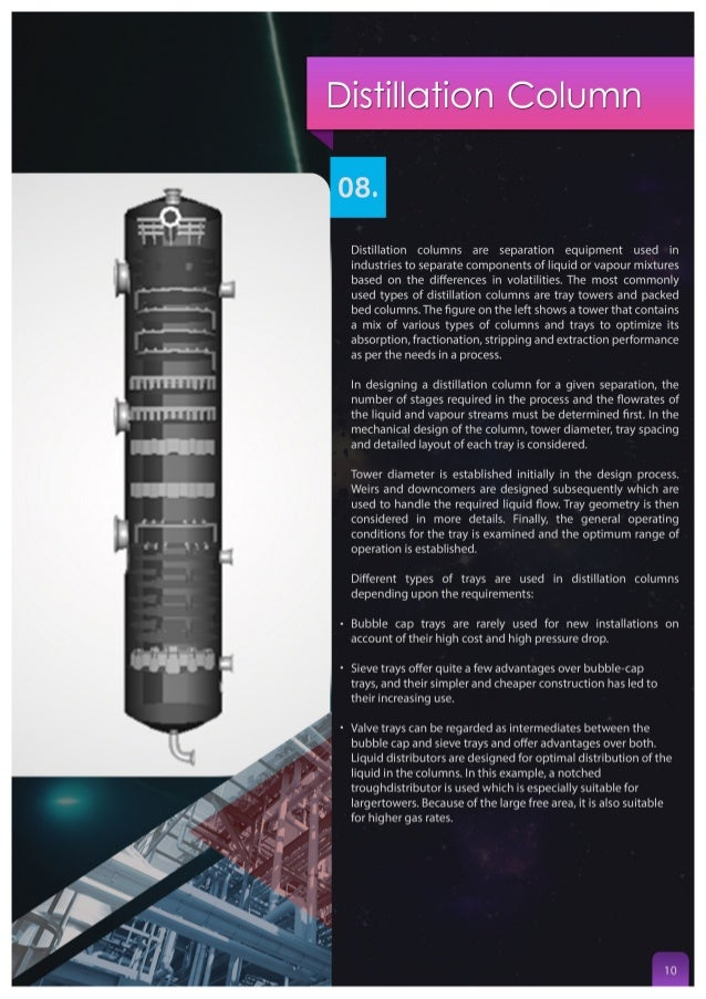 Distillation Column  O8.  Distillation columns are separation equipment used in industries to separate components of liqui...