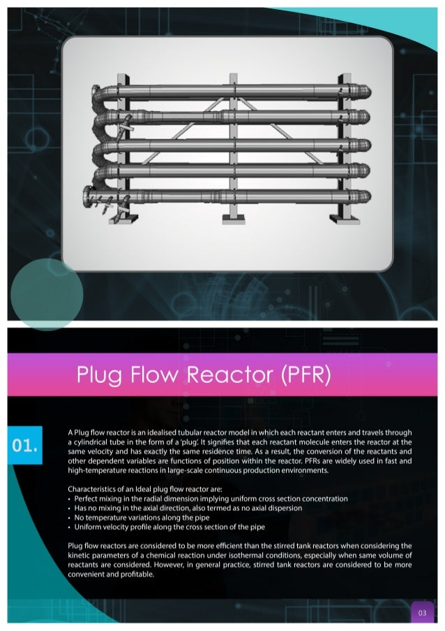 Plug Flow Reactor (PFR)  A Plug flow reactor is an idealised tubular reactor model in which each reactant enters and travel...