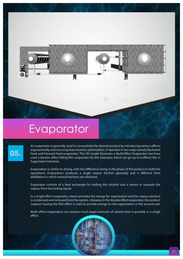 K ' .   Evaporator  An evaporator is generally used to concentrate the desired product by introducing various effects ergo...