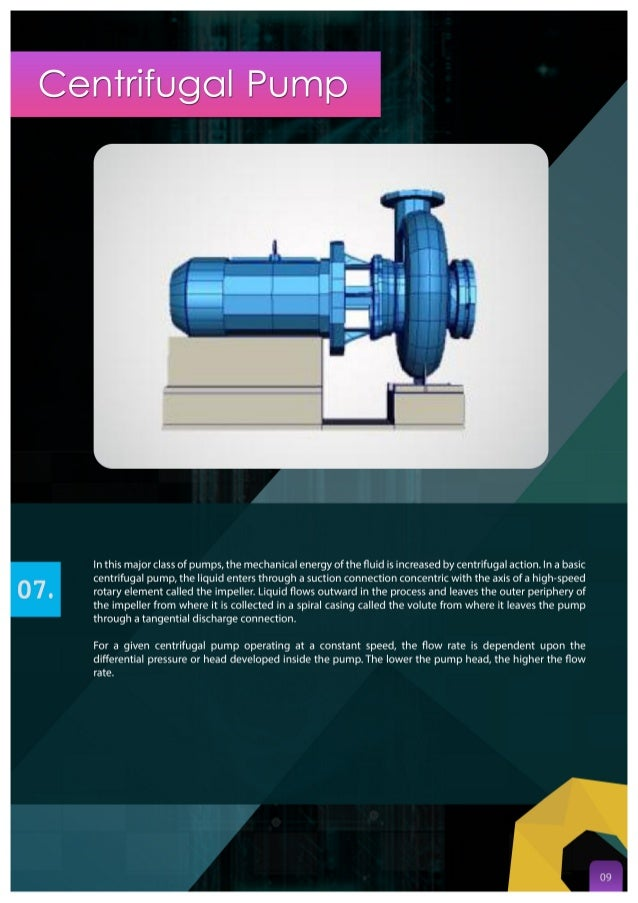 Centrifugal Pump  In this major class of pumps,  the mechanical energy ofthe fluid is increased by Centrifugal action.  In ...