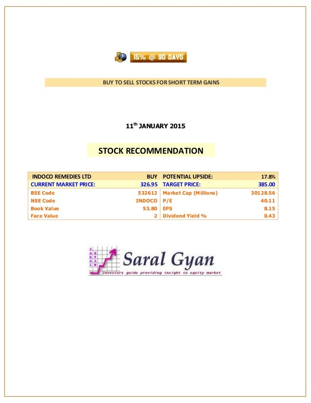 BUY TO SELL STOCKS FOR SHORT TERM GAINS 11th JANUARY 2015 INDOCO REMEDIES LTD BUY POTENTIAL UPSIDE: 17.8% CURRENT MARKET P...