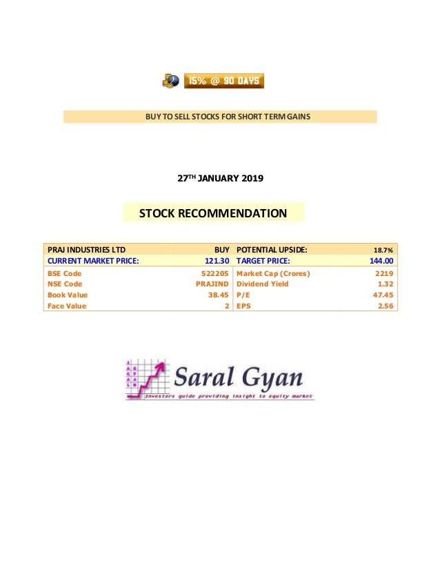 BUY TO SELL STOCKS FOR SHORT TERM GAINS 27TH JANUARY 2019 PRAJ INDUSTRIES LTD BUY POTENTIAL UPSIDE: 18.7% CURRENT MARKET P...