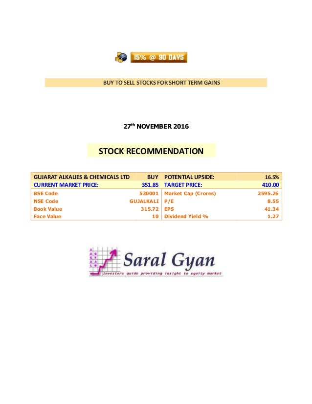 BUY TO SELL STOCKS FOR SHORT TERM GAINS 27th NOVEMBER 2016 GUJARAT ALKALIES & CHEMICALS LTD BUY POTENTIAL UPSIDE: 16.5% CU...