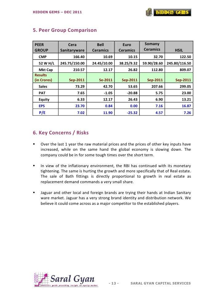 HIDDEN GEMS – DEC 20115. Peer Group ComparisonPEER                Cera            Bell            Euro           SomanyGRO...
