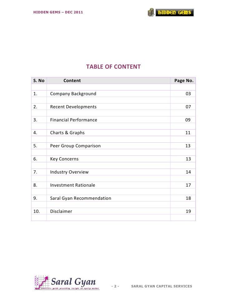 HIDDEN GEMS – DEC 2011                          TABLE OF CONTENTS. No         Content                                     ...