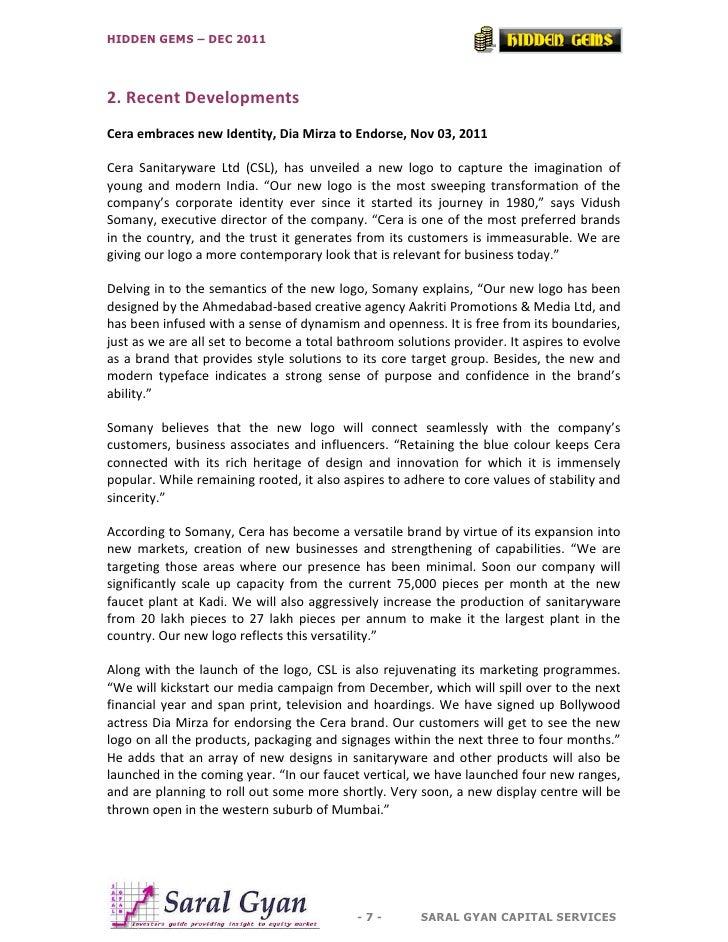 HIDDEN GEMS – DEC 20112. Recent DevelopmentsCera embraces new Identity, Dia Mirza to Endorse, Nov 03, 2011Cera Sanitarywar...