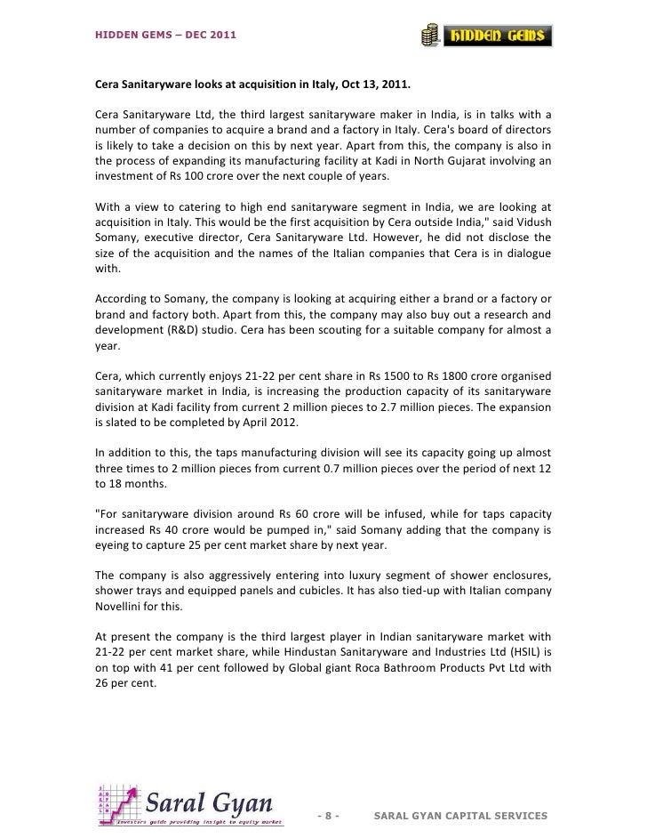HIDDEN GEMS – DEC 2011Cera Sanitaryware looks at acquisition in Italy, Oct 13, 2011.Cera Sanitaryware Ltd, the third large...