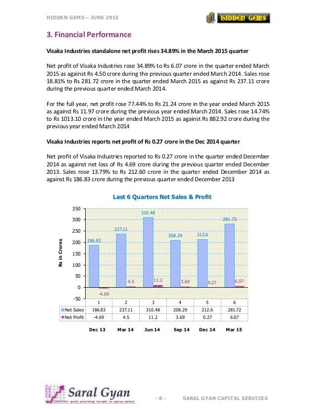 HIDDEN GEMS – JUNE 2015 - 8 - SARAL GYAN CAPITAL SERVICES 3. Financial Performance Visaka Industries standalone net profit...