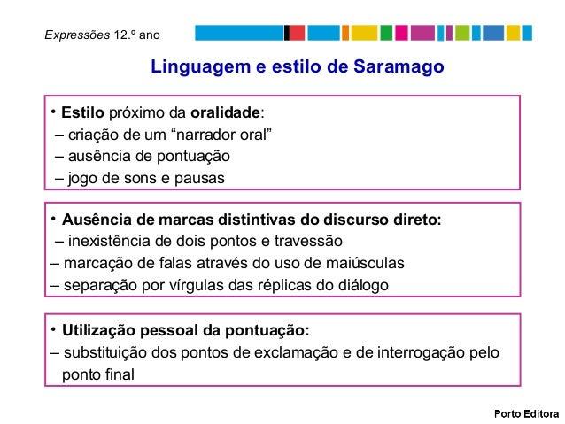 Linguagem e estilo de SaramagoExpressões 12.º ano• Ausência de marcas distintivas do discurso direto:– inexistência de doi...