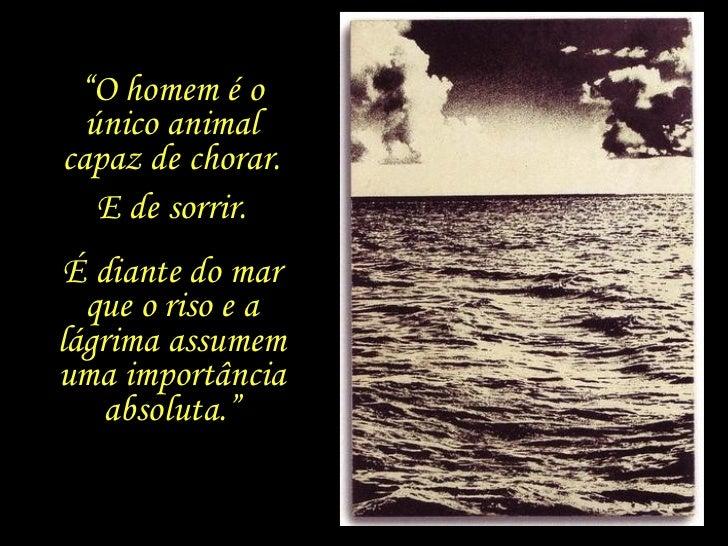 """"""" O homem é o único animal capaz de chorar. É diante do mar que o riso e a lágrima assumem uma importância absoluta."""" E de..."""