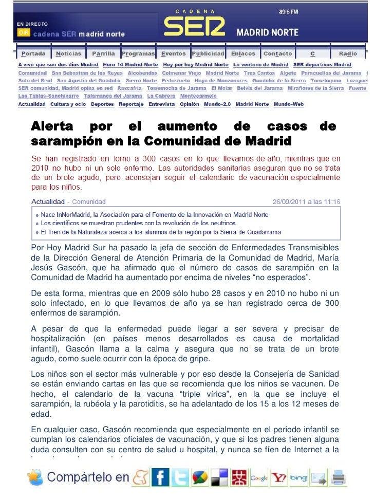 Alerta    por    el    aumento    de    casos   de <br />sarampión en la Comunidad de Madrid<br />Por Hoy Madrid Sur ha pa...