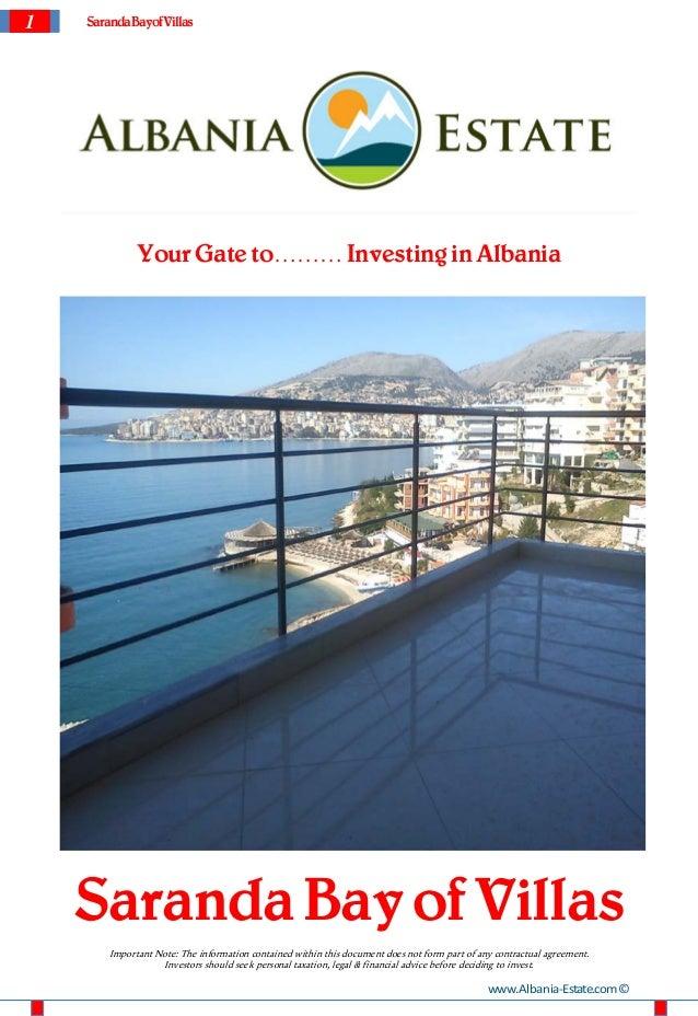 1   Saranda Bayof Villas              Your Gate to……… Investing in Albania    Saranda Bay of Villas        Important Note:...