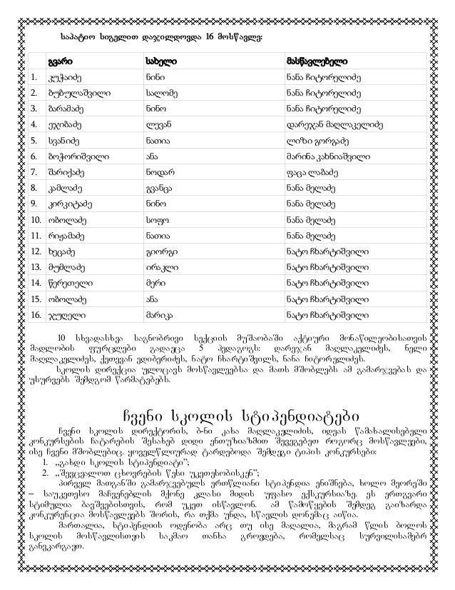 sapatio sigeliT dajildovda 16 moswavle: გვარი  სახელი  მასწავლებელი  1.  კუჭაიძე  ნინი  ნანა ჩიტორელიძე  2.  ბუბულაშვილი  ...