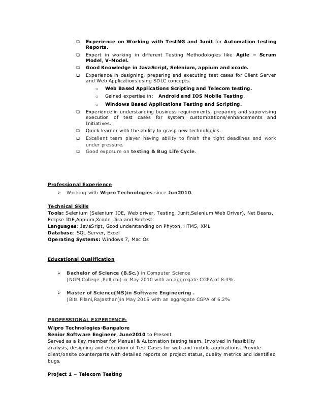 senior software tester resume