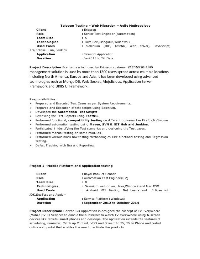 project 1 telecom testing 3 - Mobile Device Test Engineer Sample Resume
