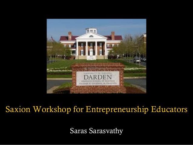 Effectuation presentation by Saras Sarasvathy  Slide 2