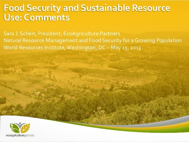Food Security and Sustainable Resource Use: Comments Sara J. Scherr, President, EcoAgriculture Partners Natural Resource M...