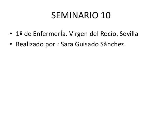 SEMINARIO 10• 1º de EnfermerÍa. Virgen del Rocío. Sevilla• Realizado por : Sara Guisado Sánchez.