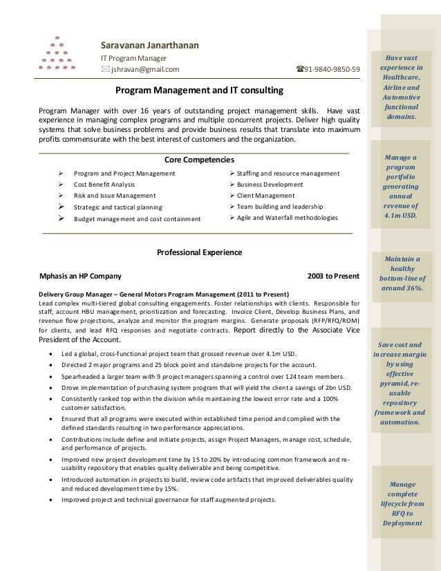 it program manager resumes