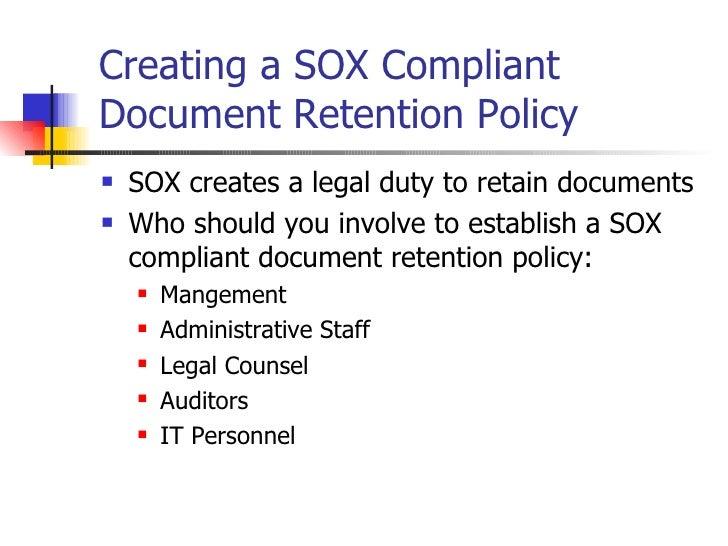 SarbanesOxley Primer on Document Retention Policies – Document Retention Policy