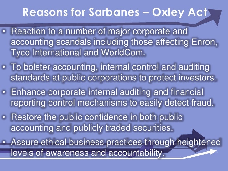 what is the significance of the sarbanes oxley act