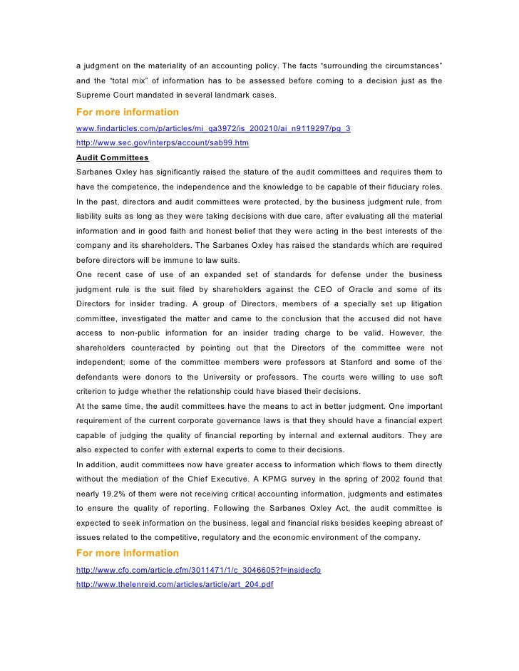 a description of the sarbanes oxley The sarbanes-oxley act (the act or sox hereafter) in july 2002 to enhance  corporate  research design, sample selection, and descriptive statistics.